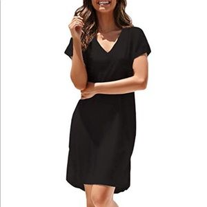 ON v-neck Tee Shirt Cotton Midi Dress • D030